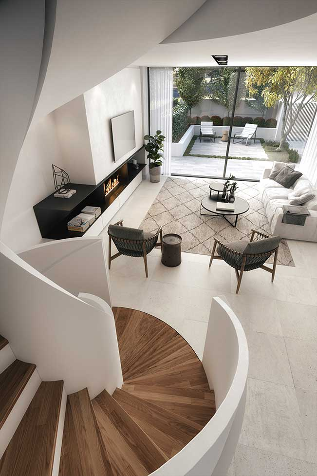 One Orchard luxury design townhouse spiral staircase lounge to courtyard