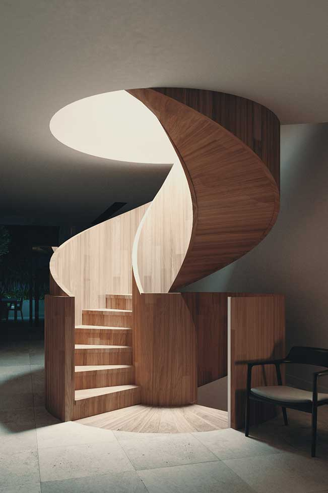 One Orchard luxury design townhouse spiral staircase