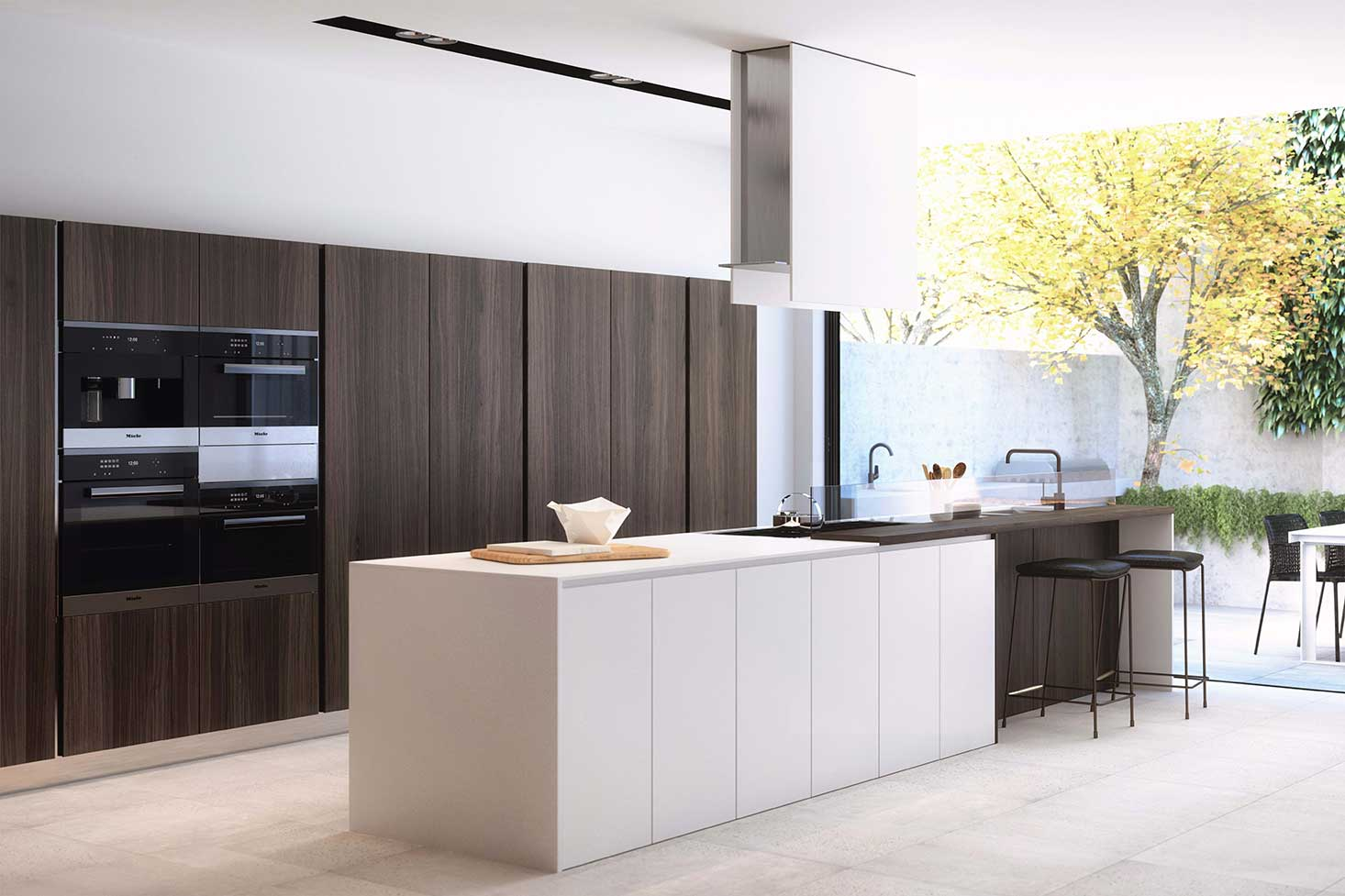 One Orchard luxury interiors kitchen to courtyard