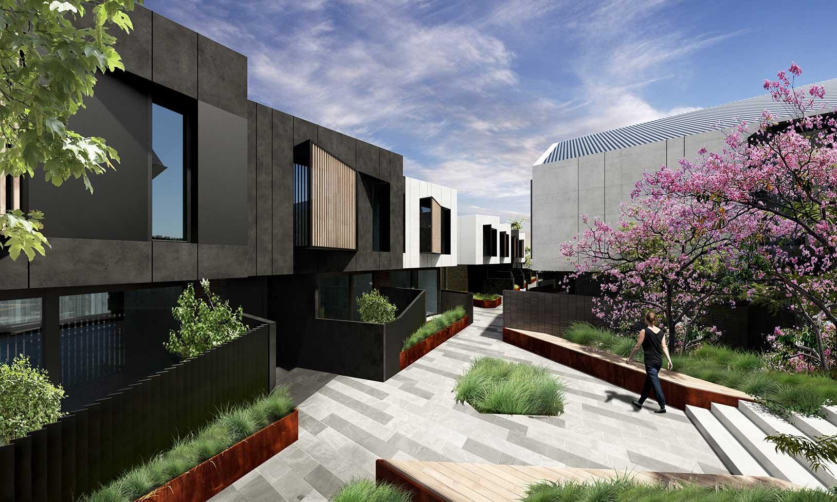 Saint George townhouse design communal courtyard
