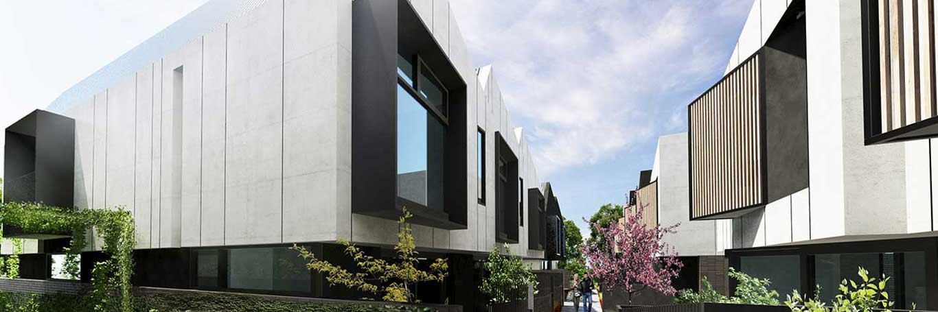 Saint George townhouse design separated by pedestrian pathway
