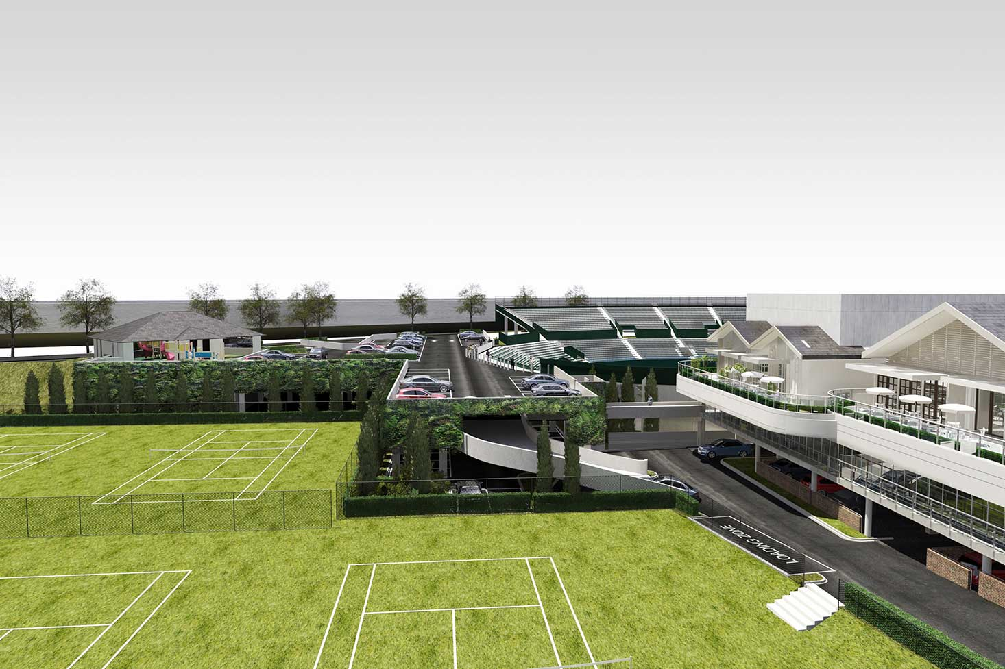 Kooyong Lawn Tennis Club master plan design side view lawn courts to car park